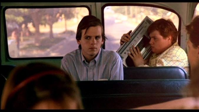 Jesse Walsh (Mark Patton)  rides to school in A Nightmare On Elm Street Part 2: Freddy's Revenge