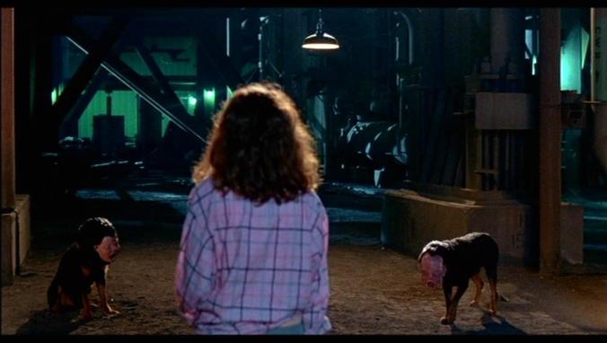Lisa (Kim Myers) faces demon dogs in A Nightmare On Elm Street Part 2: Freddy's Revenge