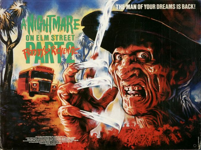 UK Quad Poster For A Nightmare On Elm Street Part 2: Freddy's Revenge (1985)